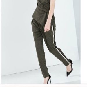 Zara Woman Wool Army Green Trousers side stripes